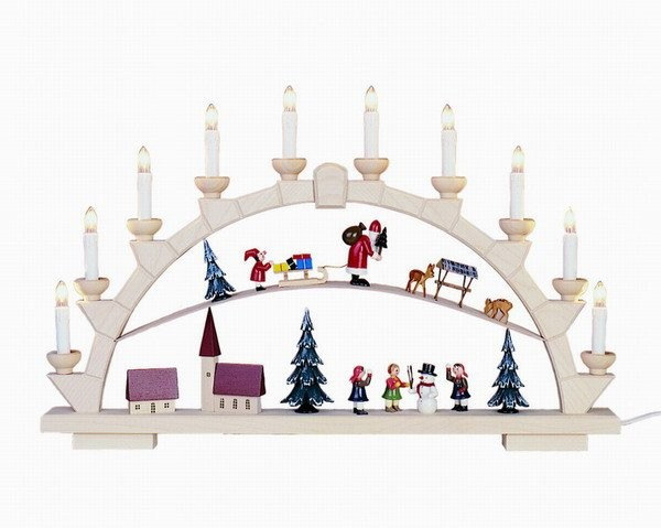 Candle arch Santa Claus with 10 electric candles - 64x40 cm