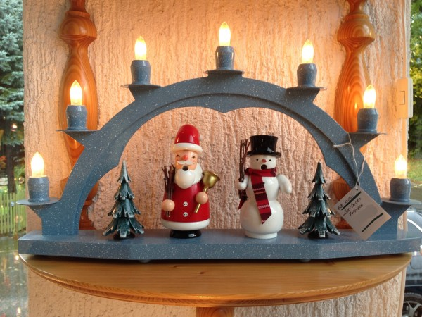 Candle arch wooden blue with 7 electric candles - 18.51 inch x 11 inch ( 47 x 28cm)