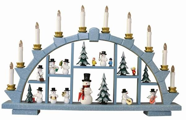 Candle arch wooden blue with 10 electric candles - 64x40 cm