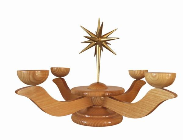 Wooden candlestick medium large natural with ring - height 20 cm