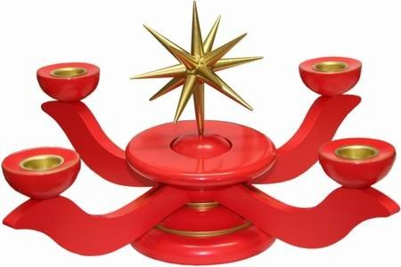 Wooden candle candlestick medium red with ring - height 20 cm
