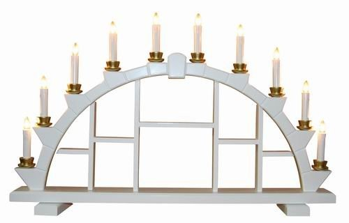 Candle arch wooden white with 10 electric candles - 64x40 cm